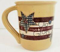 "Russ Berrie Old Glory Coffee Cup 4"" x 3.5"" Ceramic #12590"