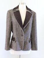 New NWOT Talbots Brown Herringbone Tweed Wool Velvet Trim Blazer Jacket Size 12