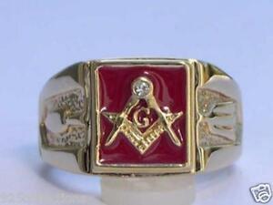 Masonry Vermeil 925 Sterling Silver Red Enamel Square Mason Men Ring Size 8-14