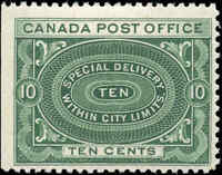Canada Mint H 1898 F+ Scott #E1 10c Special Delivery Stamp