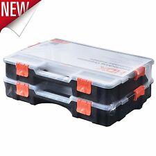 Small Parts Organizer 2 Pack Interlocking Storage Screw Holder Handle Car Garage