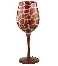 Giraffe Painted Wine Glass