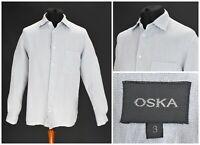 Mens OSKA 100% Linen Casual Shirt Blue Pocket Long Sleeve Size 3 / L