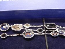 "Signed Swarovski Bracelet Pamela Triple Strand Faceted Gray 5017066 8.25"" SB07"