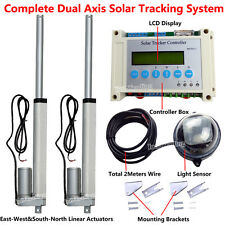 "Solar Tracking Track LCD Dual Axis Sunlight Tracker W/ 1500N 8"" Linear Actuators"