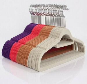 Coat Hangers Velvet Curved Non Slip - Pink - Blue - Purple