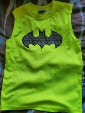 Boy's Neon Yellow Batman Sleeveless Shirt 6/7