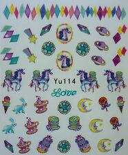 Nail Art Water decals Stickers Transfers Unicorns Stars Rainbow Teacup Candy 114