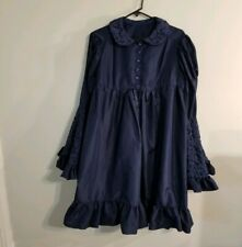 Vintage Navy Blue Trapeze Bell Sleeve Dress lace embroidered rose