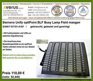 Unify Siemens optiPoint Busy Lamp Field (BLF) mangan S30817-S7107-A107  / MwSt.