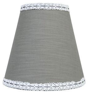 Clayre & Eef Lampenschirm E27 Stehlampenschirm Stoff grau mit Borte Landhaus