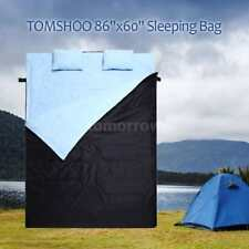 "2 Person Double Sleeping Bag with Pillow 86"" x 60"" W  Camping Hiking 2-IN-1 USE"
