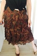 RALPH LAUREN WOMENS SKIRT MIDI FLORAL PRINT SILK LINED ZIP SIDE SZ 6
