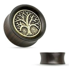 Earrings Rings Organic Ebony Wood Saddle Tunnel Tree of Life Top 1/2''