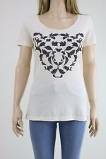 BOSS Hugo Boss Cream Colour Short Sleeve Tiger Detail Front T-shirt SIZE SMALL