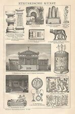 B0271 Arte Etrusca - Xilografia d'epoca - 1902 Vintage engraving