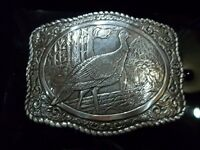 CRUMRINE Silver Belt Buckle Turkey Bird Hunting Dog Wildlife Western 38052 NIB