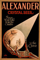 ALEXANDER CRYSTAL SEER, Vintage Magician Poster Rolled CANVAS PRINT 24x32 in.