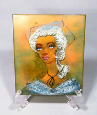 Painting on Copper Impressionism Haunting Victorian Lady Portrait Art