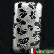 Custodia back cover rigida iPhone 3G S FARFALLE ARGENTO