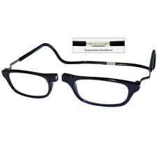 CliC +2.0 Diopter Magnetic Reading Glasses: Expandable, Black Low Vision Glasses
