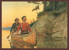 Philip R Goodwin, Rowing, Sunset, Antique, Western,18x14 CANVAS ART