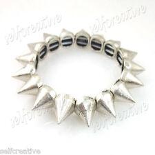 Punk Biker Silver Alloy Metal Cone Studs Spike Elastic Bracelet Fashion Jewelry