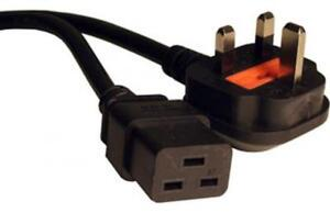 Power Cable UK Mains Fused Plug to IEC C19 Female Socket 5m 5 metres