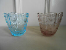 Set of 2 GreenGate Glass Votive With Hearts in Pale Pink or Turquoise