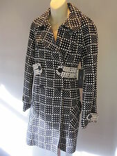 Nos Authentic Real MARC JACOBS Winter Black White Polka Dots Trench Coat Mods M