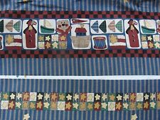 """6 Yards Vintage Fabric Traditions """"Just Be Cuz"""" Double Border Print  Fabric New"""