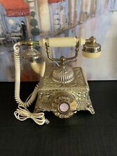 Vintage Brass French King Style Rotary Dial Telephone - Preowned - Made In Kores