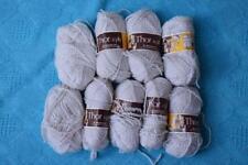 NEW 10 X 25g PANDA THOR Acrylic Knitting Yarn 8 ply NEW. Cream with Brown Twist