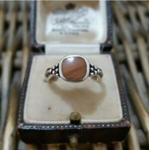 CHARLES WINSTON Sterling Silver Ring, Brown Jasper Inlay, Size N 1/2 US  7
