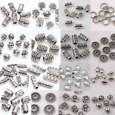 20/50/100Pcs Tibetan Silver Metal Loose Tube Spacer Beads Jewelry Making Charms