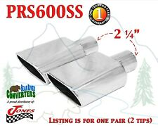 """PRS600SS PAIR 2.25"""" Stainless Oval Exhaust Tips 2 1/4"""" Inlet / 6 1/2"""" 6.5"""" Long"""