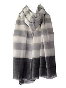 Grey Scarf Ivory Cream Striped Wrap Ladies Fair Trade Stripey Shawl Stripes New