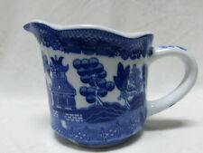 WHITE BLUE WILLOW MEASURING CUP MUG POT W/POURING SPOUT ORIENTAL PAGODA CHINESE