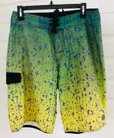 ☀️Pelagic Dorado Green Hex Performance Board Shorts Fishing • Men's 30 *faded*