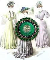 Vintage Style Czech ALL Glass Rhinestone Pin Brooch #T068 - SIGNED