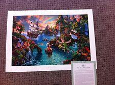"Thomas Kinkade ""Peter Pan's Never Land"" Disney Lithograph Limited Edition 24x36"