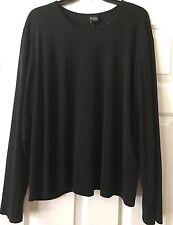 EILEEN FISHER WOMAN 3X Black 100% Silk Long Sleeve Knit Top Blouse