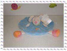 R - Doudou Semi Plat Rond Souris Bleu Rose Beige Escargot   Nattou