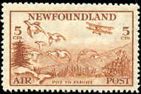 Mint NH Canada Newfoundland 1933 5c F-VF Scott #C13iii Air Mail Stamp