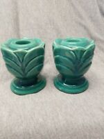 VTG Shawnee Pottery Conventional Candlestick Holders pre October 1942 Dark Green