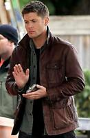 Men's Supernatural Season 7 Real/Genuine Leather Jacket/Coat in Brown