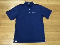 Peter Millar Solid Blue Summer Comfort Golf Polo Shirt Mens Size Large