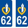 Département 62 sticker 2 autocollants style immatriculation AUTO PLAQUE