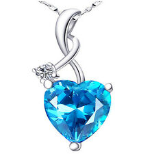 4.03 Cttw 925 Sterling Silver Heart Cut GEMSTONE Pendant Necklace Created Blue Topaz