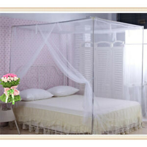 Corner Post Bed Canopy Mosquito Net Full Queen Polyester Netting Mosquito HC